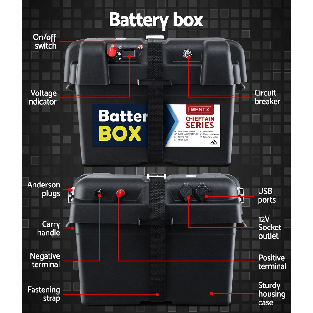 Portable 12V deep cycle battery with Battery Box